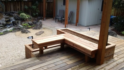 Custom Bench and Planters in a Japanese Garden