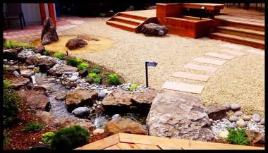 Japanese Garden with Deck and Water Feature