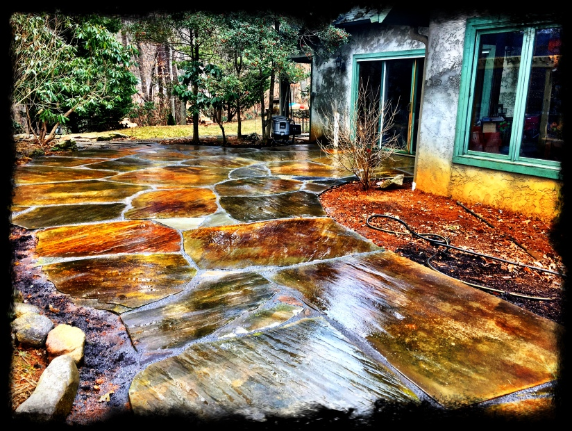 Large Flagstone Slab Patio Asheville